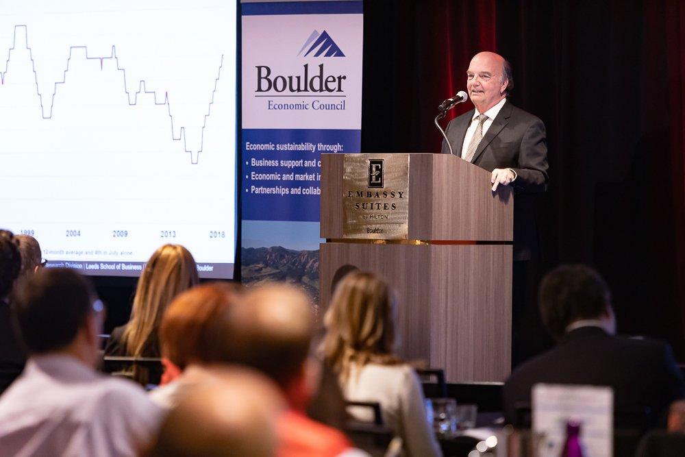 Dr. Richard Wobbekind presenting at the 2019 Boulder Economic Forecast. Photo: David Harwi